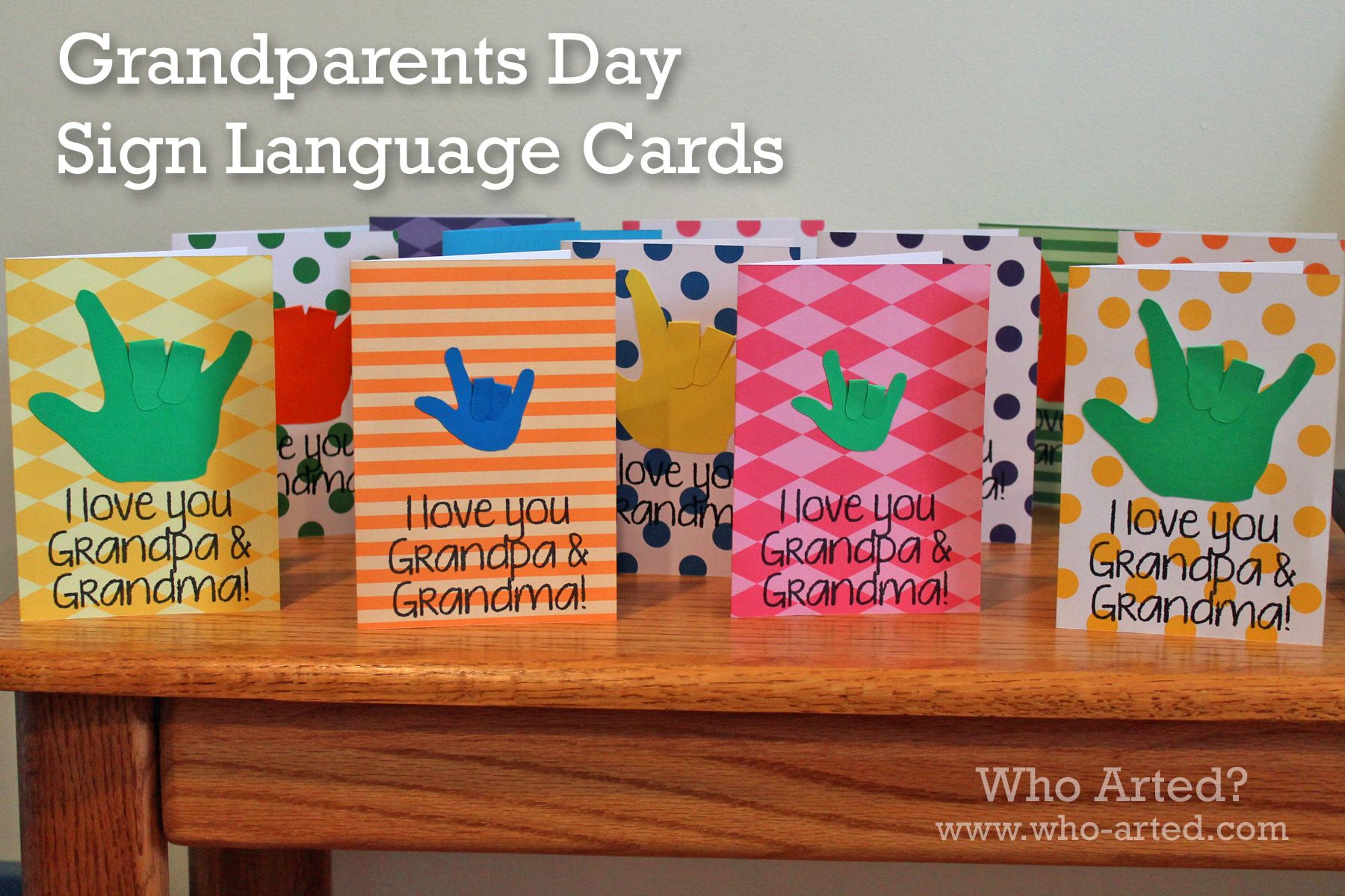 Grandparents Day Sign Language Cards Instructions And