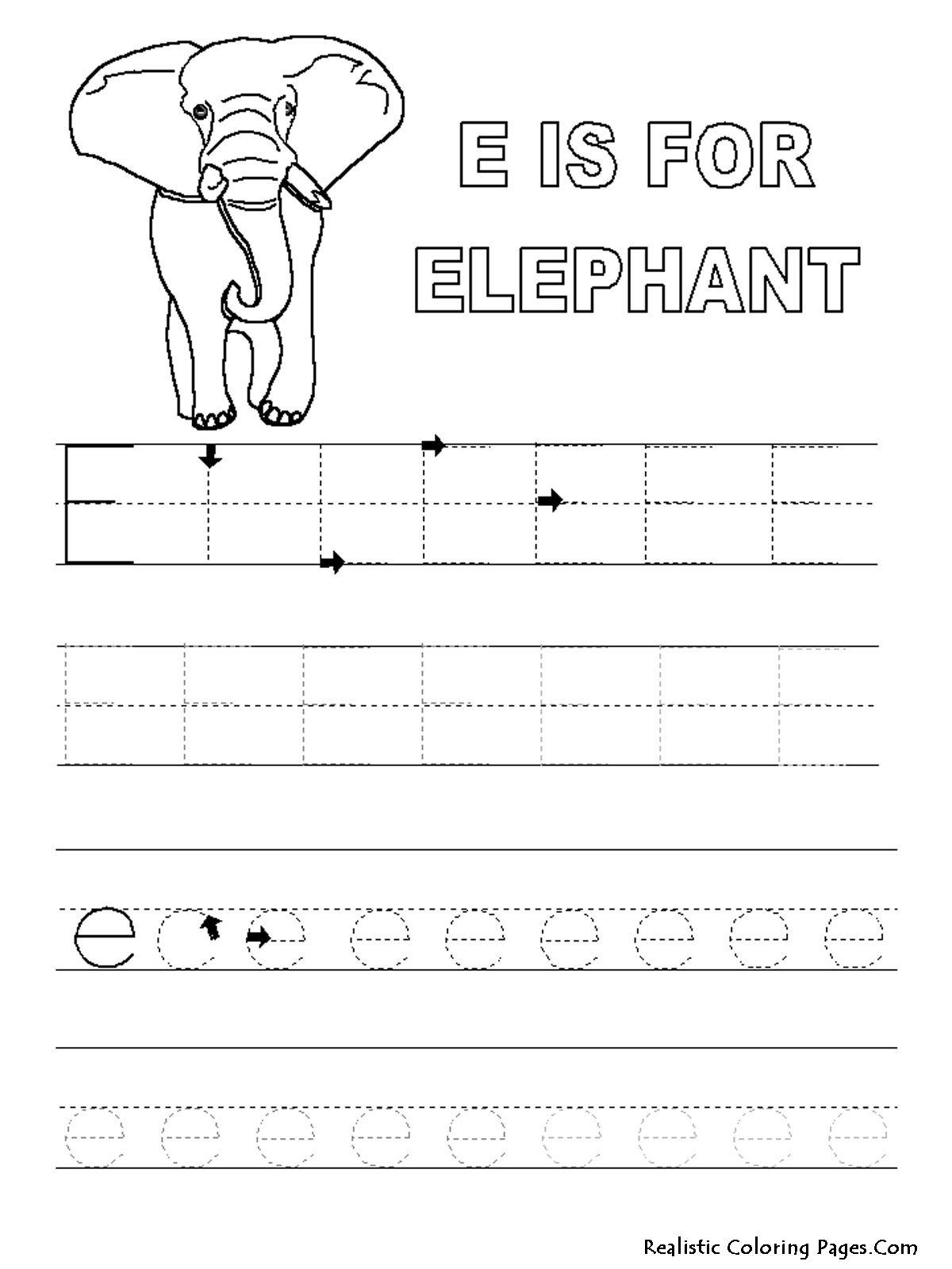 Alphabet Tracer Pages E Elephant