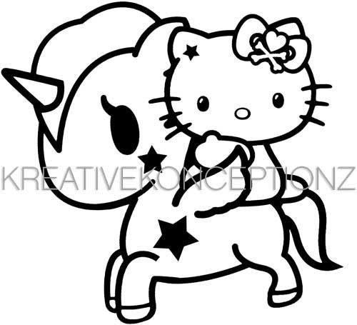 """hello kitty tokidoki unicorno vinyl decal sticker 5"""" x 4.5"""