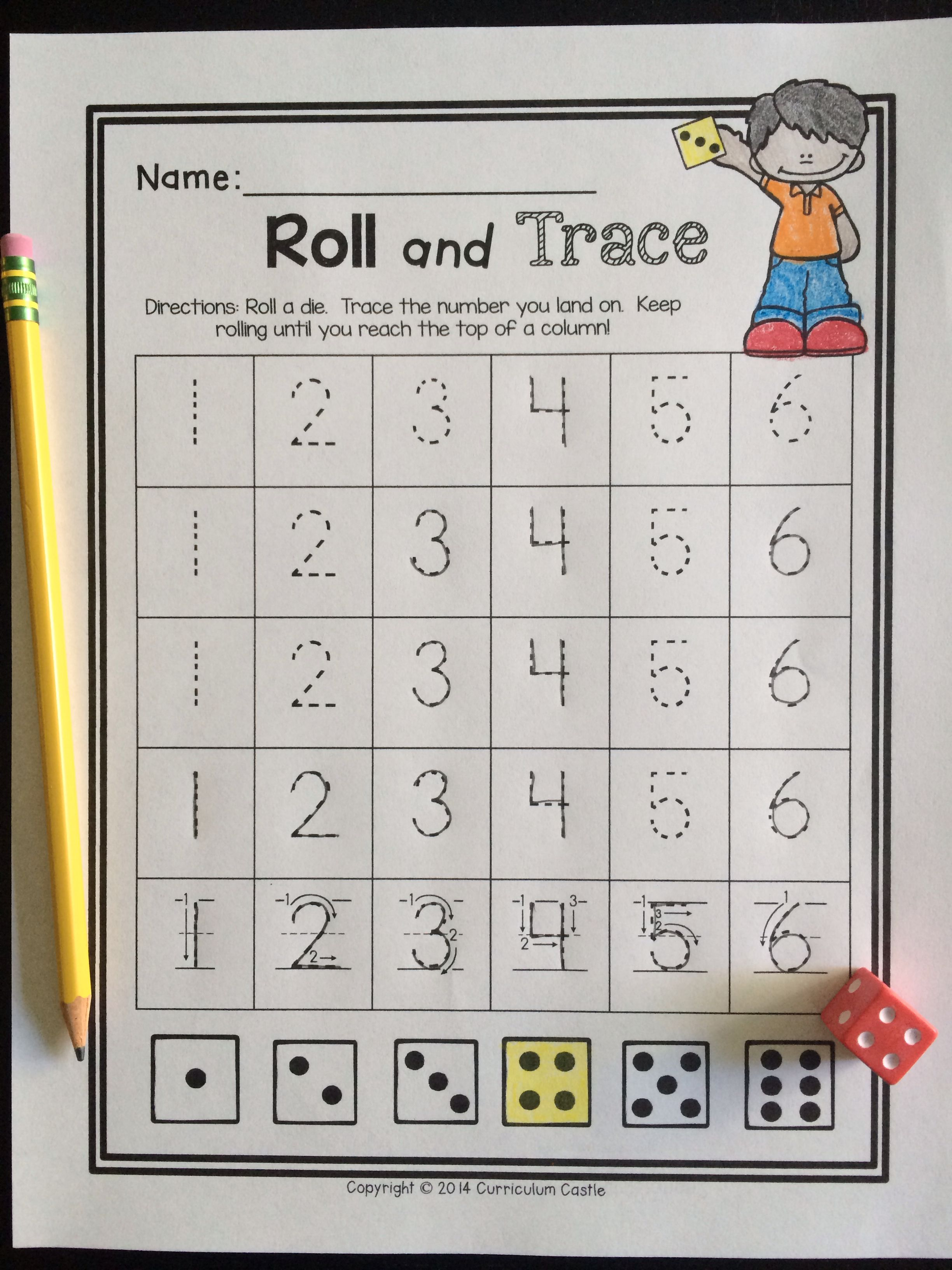 Back To School Kindergarten Math Roll And Trace A Number