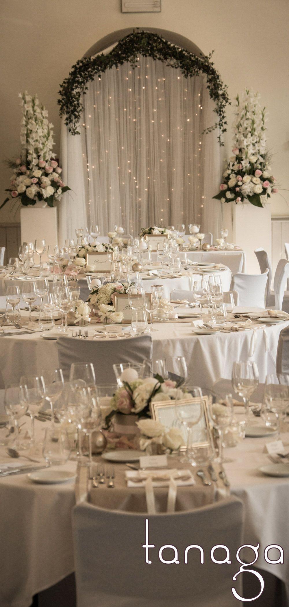 Décoration de table mariage classicoromantique, rose