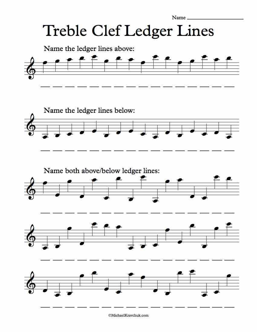 Free Treble Clef Ledger L Es E Recogniti W Ksheet Music
