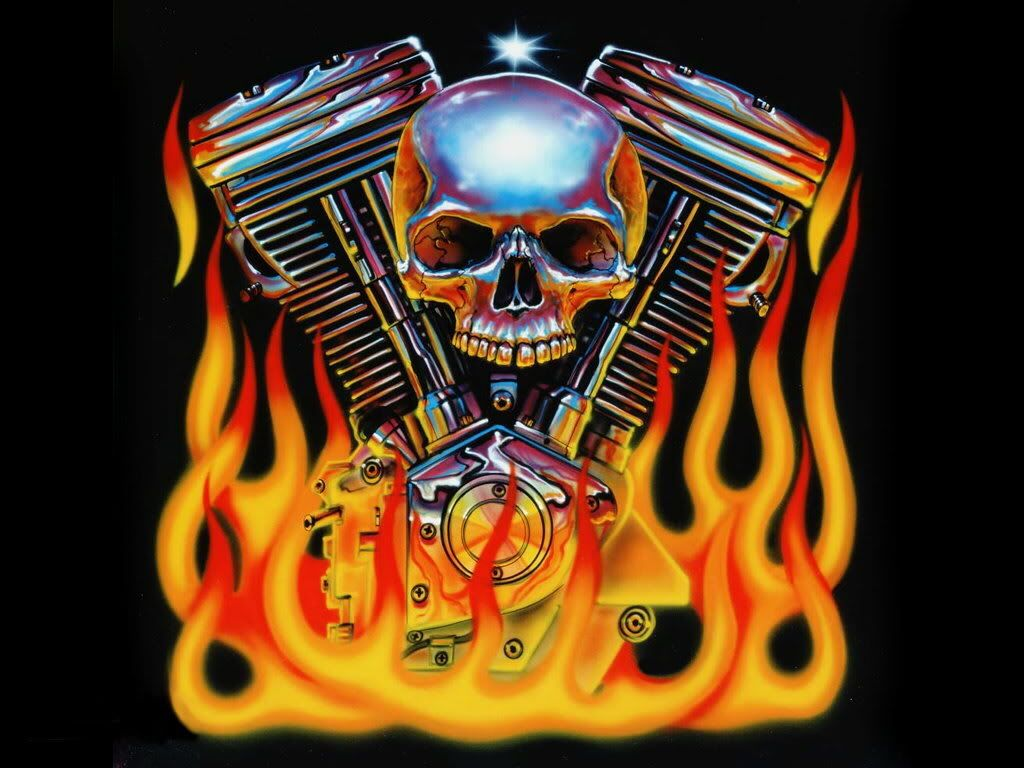 Awesome Harley Painting Vtwin Engine With Skull And