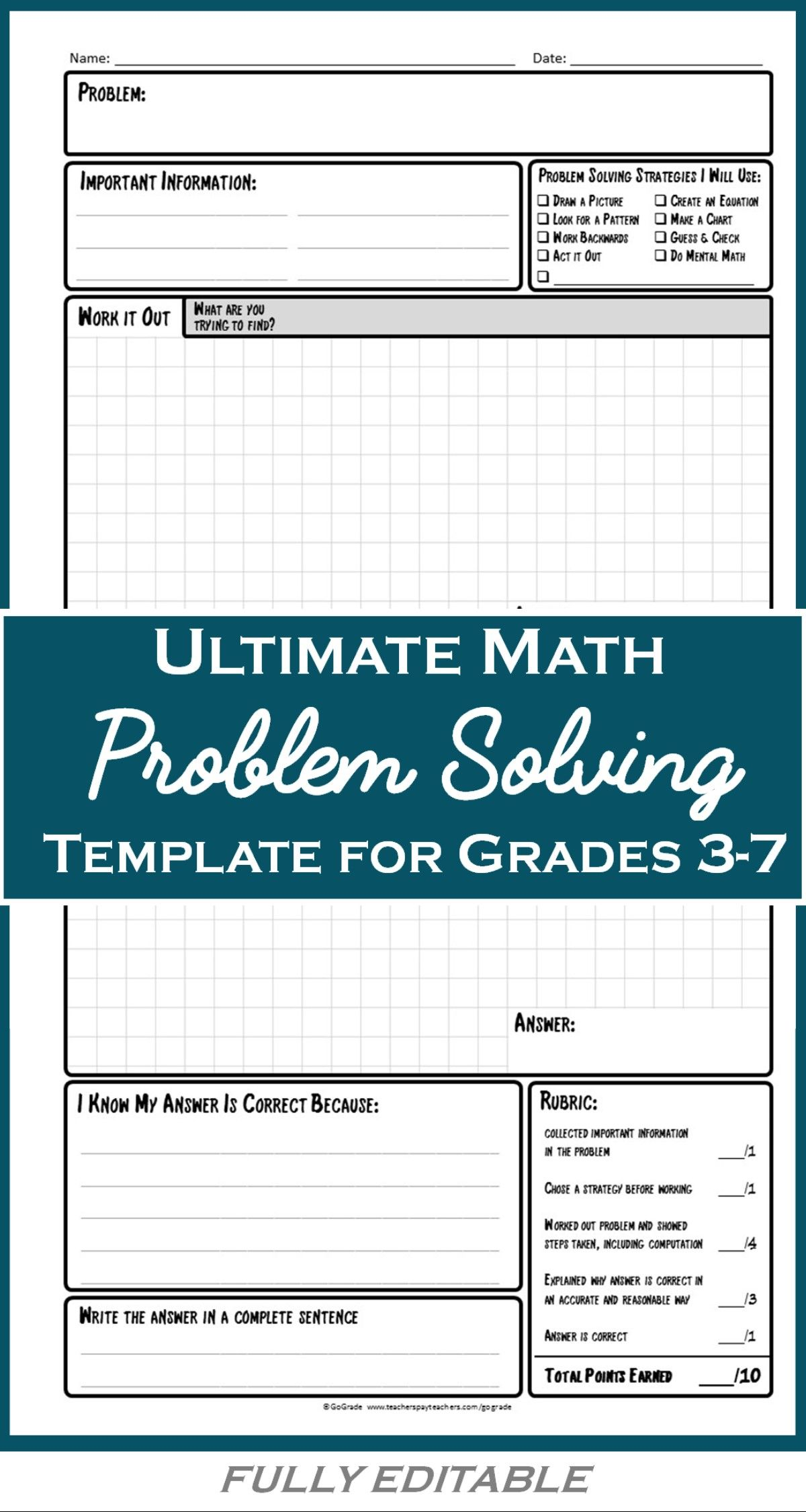 Math Problem Solving Template A Structured Approach To Solving Any Math Problem