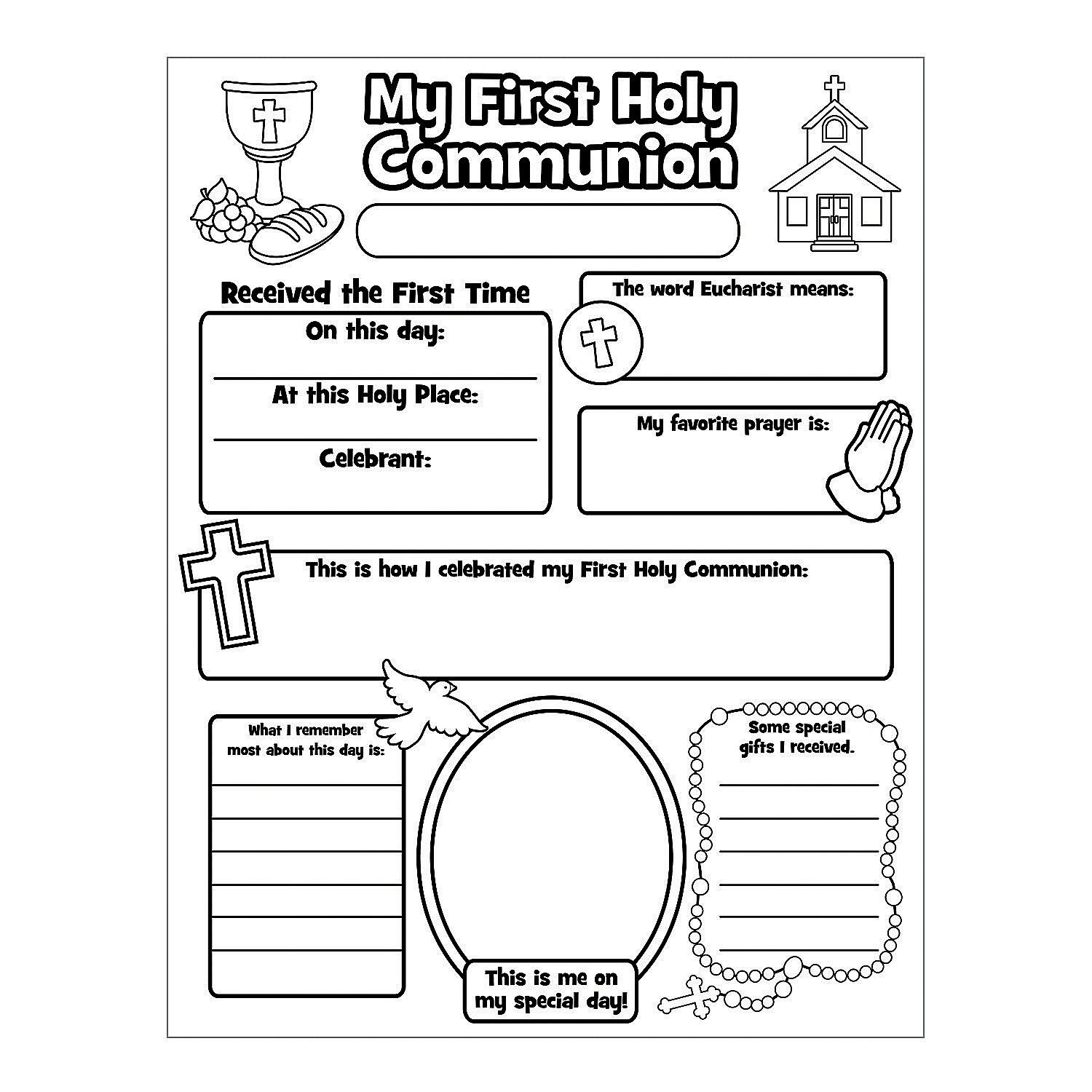 Color Your Own All About My First Communion Posters