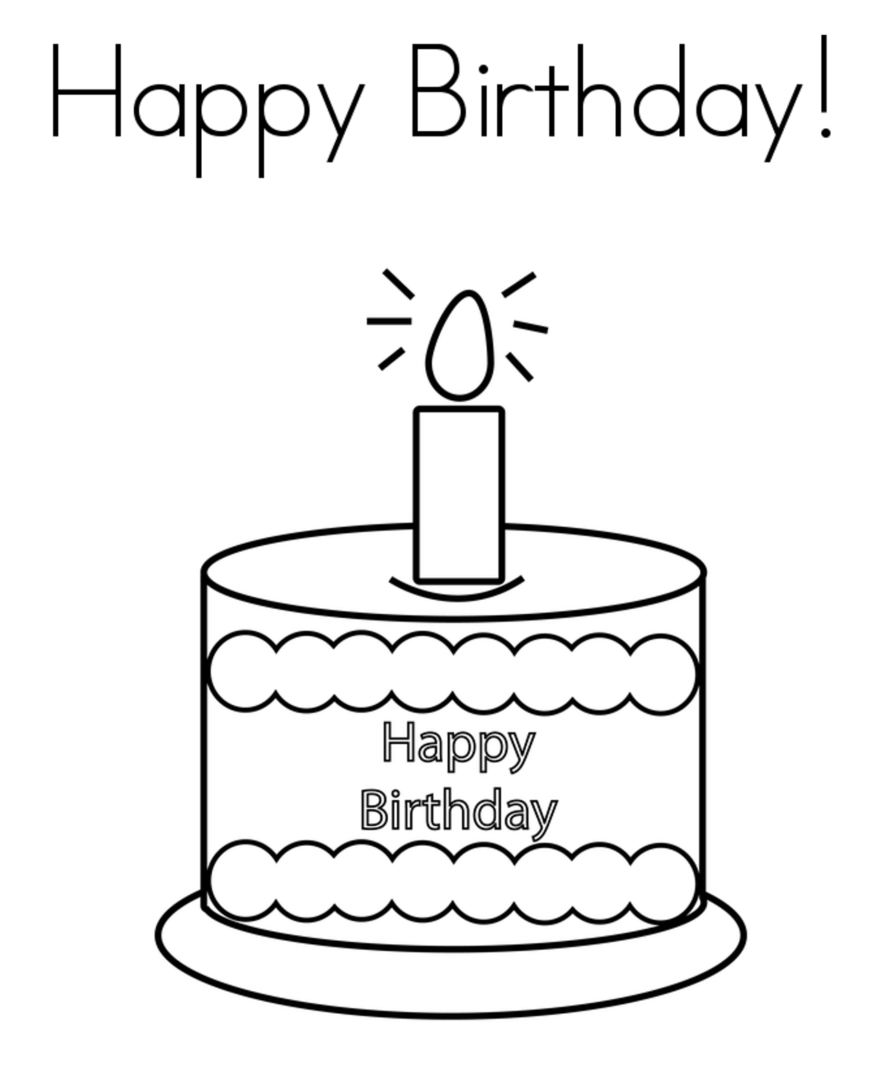 happy birthday cake coloring page Theme and Pictures