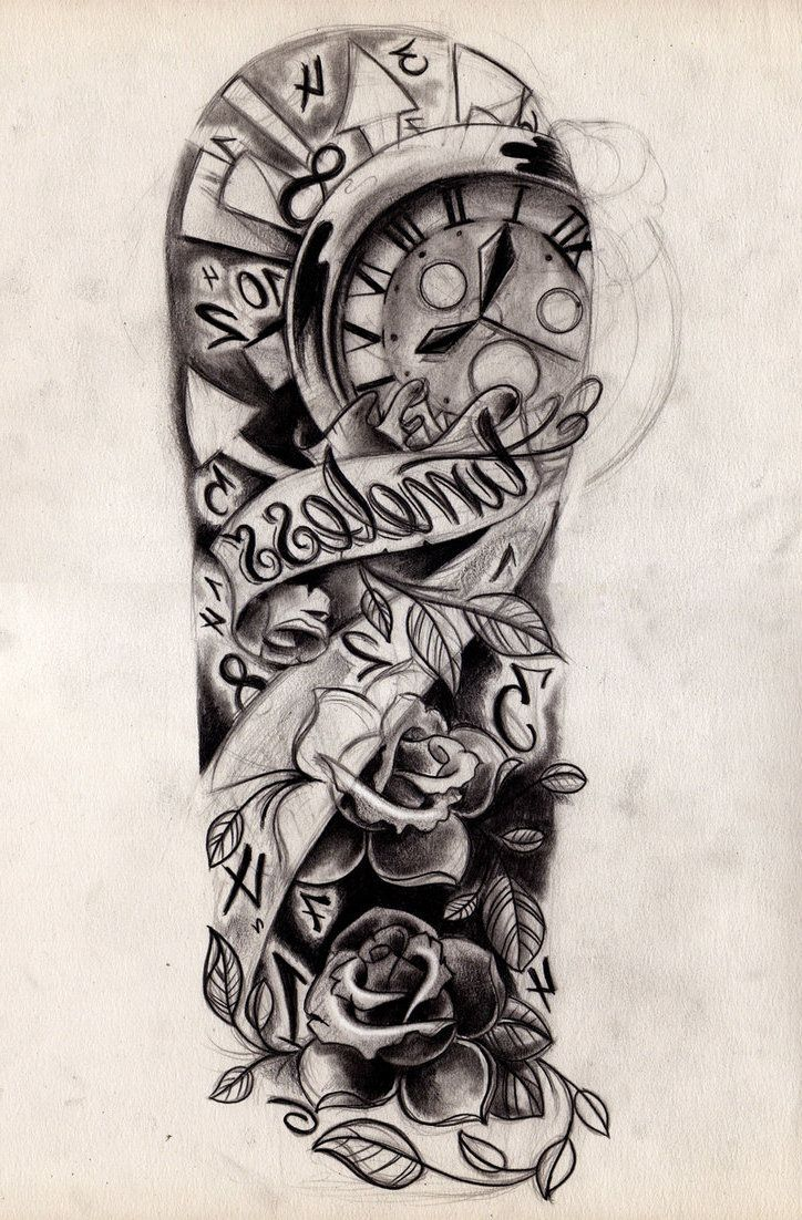 Images For > Tattoo Half Sleeve Girl Black And White