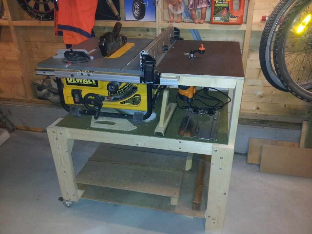 Dewalt DW745 Table Saw Station with Router Woodworking