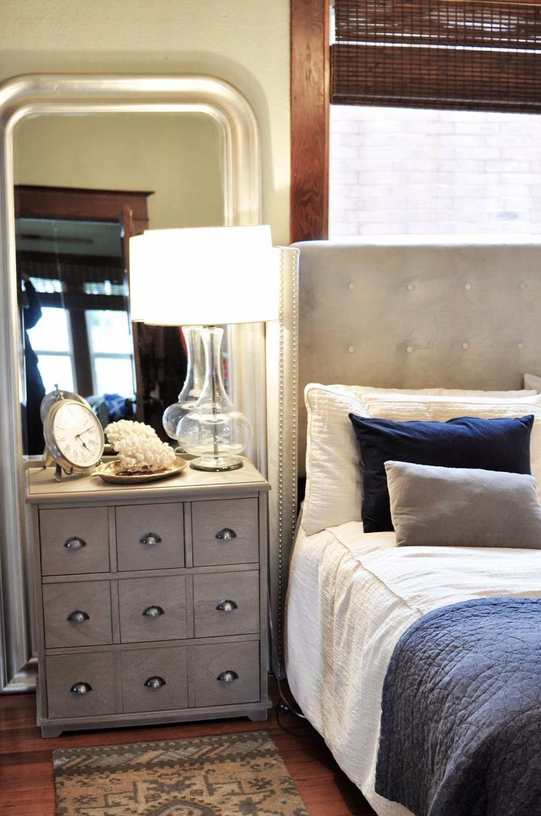 master bedroom/threshold/target/nightstand/upholstered bed/navy