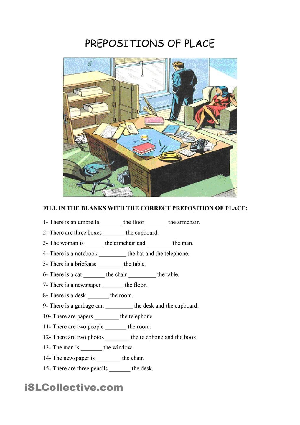 preposition of place Google keresés English worksheets