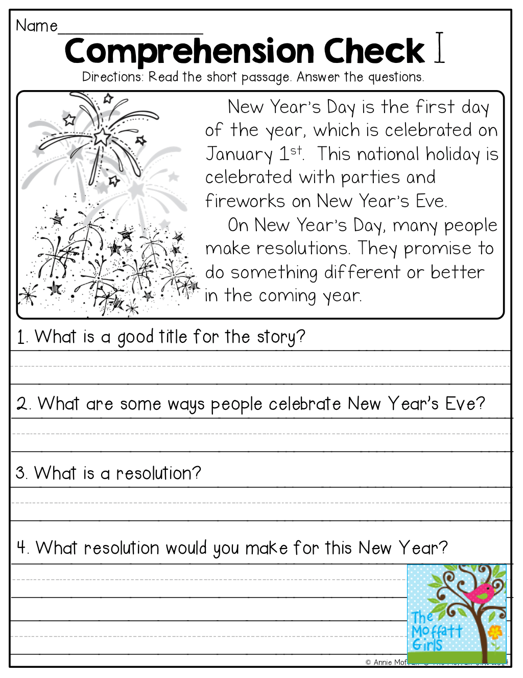 Comprehension Worksheet Year 1