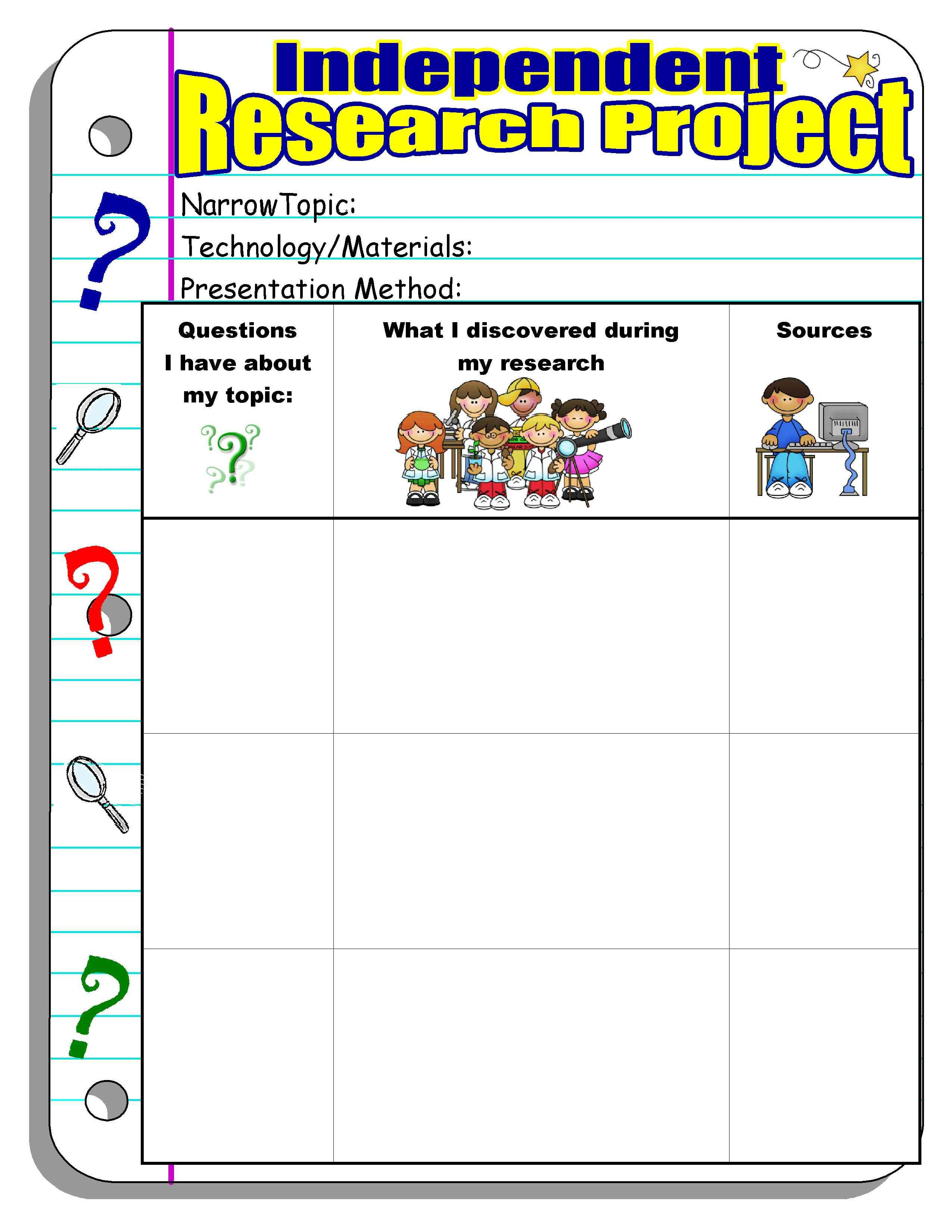 Independent Research Project Graphic Organizer And Other