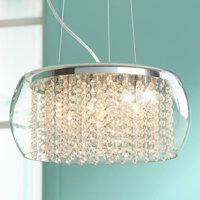Possini Euro Crystal Rainfall Glass Drum 17 Wide Chandelier