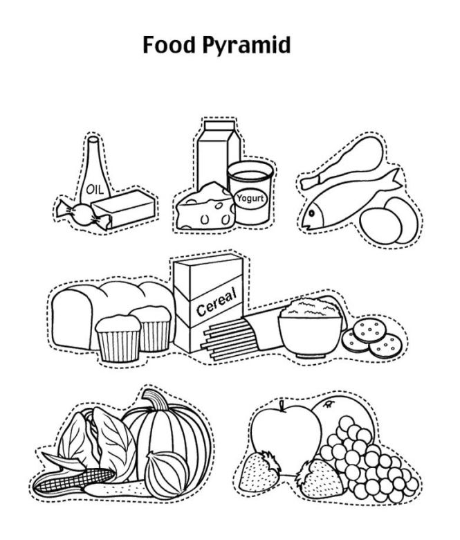 Food Pyramid Coloring Pages With Fruit And