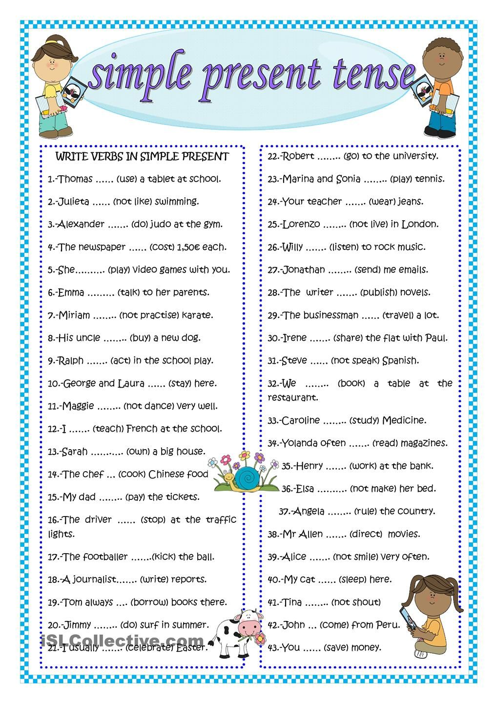 SIMPLE PRESENT TENSE English for kids Pinterest