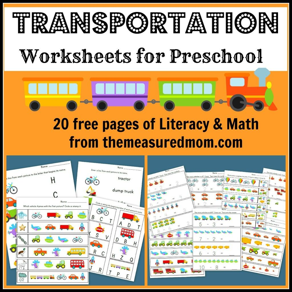 Transportation Worksheets For Preschool 20 Free Pages Of Literacy And Math Finishedfriday