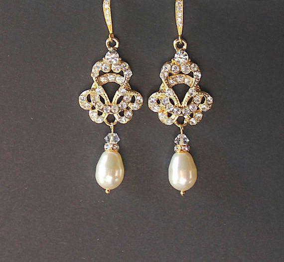 Gold Pearl Drop Earring Bridal Chandelier By