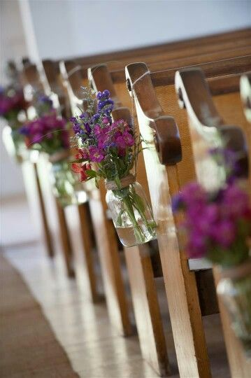 Creative Church Wedding Decorations Red Roses Turquoise