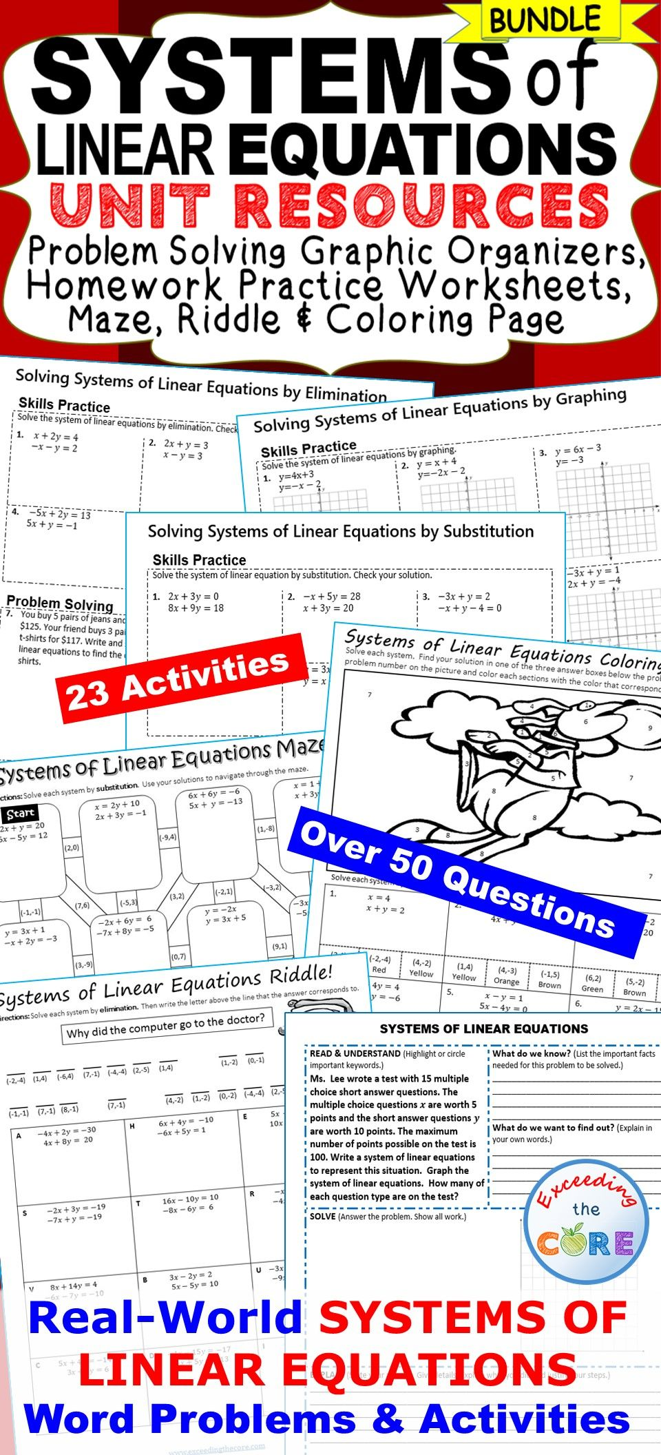 SYSTEMS OF LINEAR EQUATIONS Homework Practice, Graphic