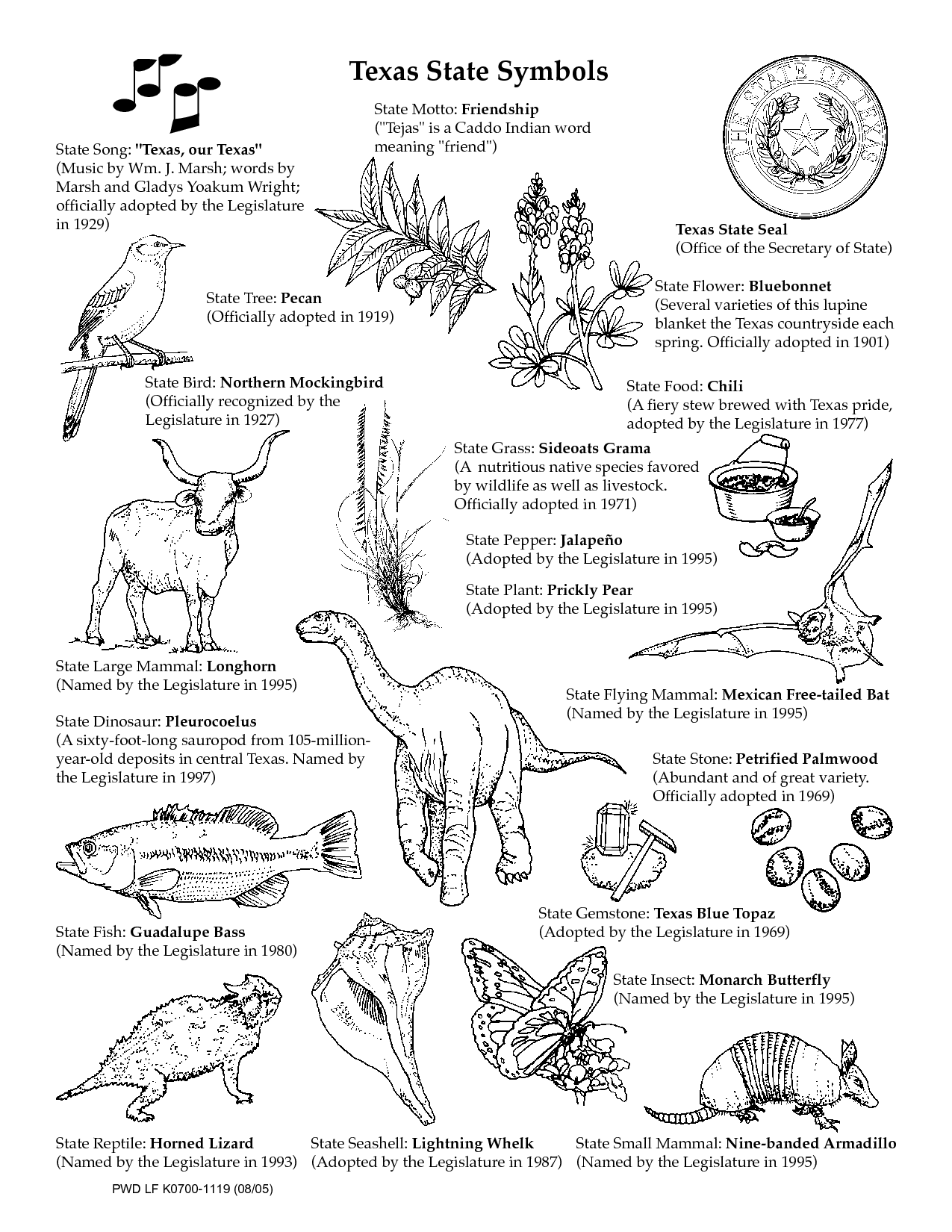 Texas Symbols Coloring Sheets