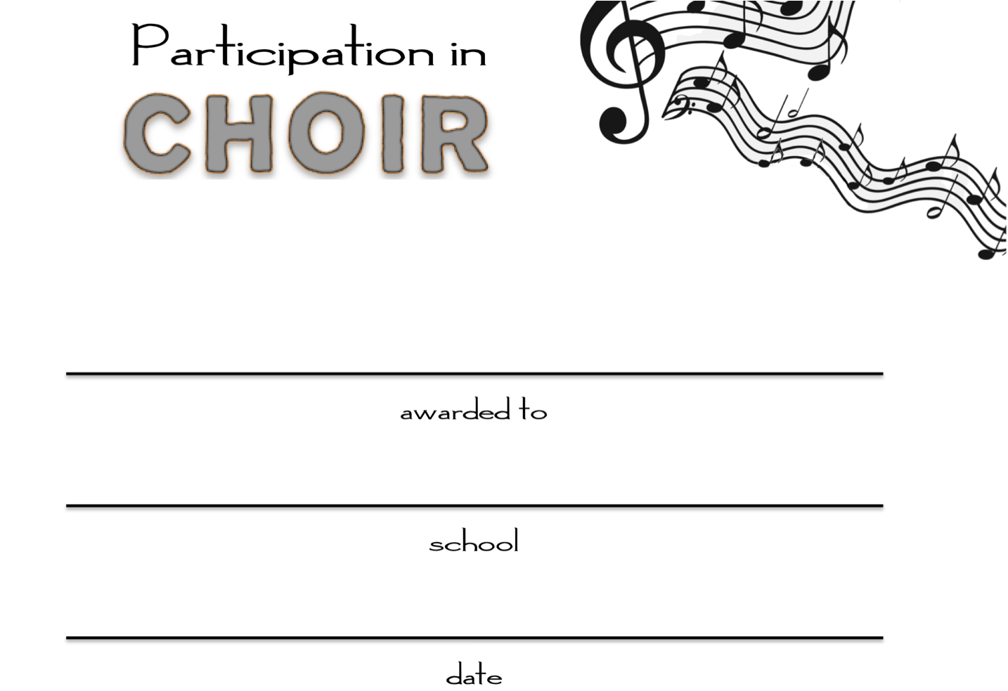 Choir Participation Awards
