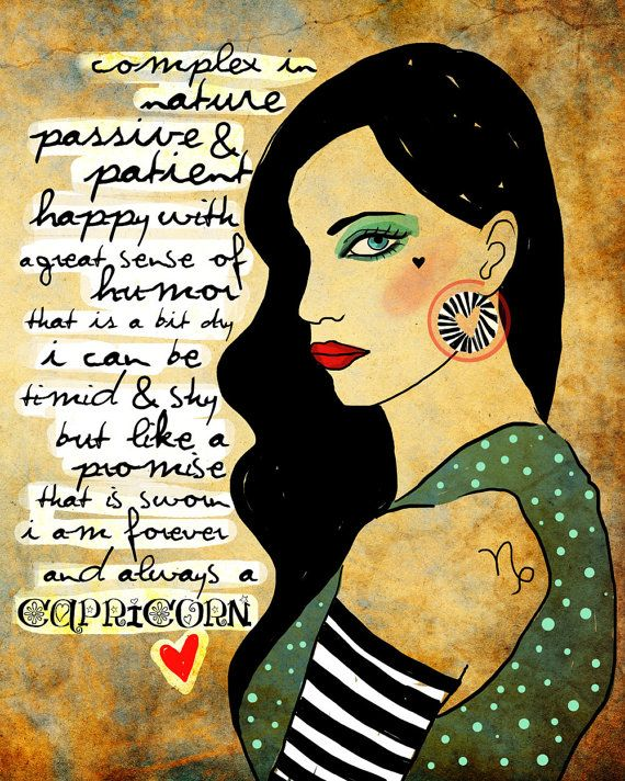 Capricorn art print december Birthday air sign Astrology