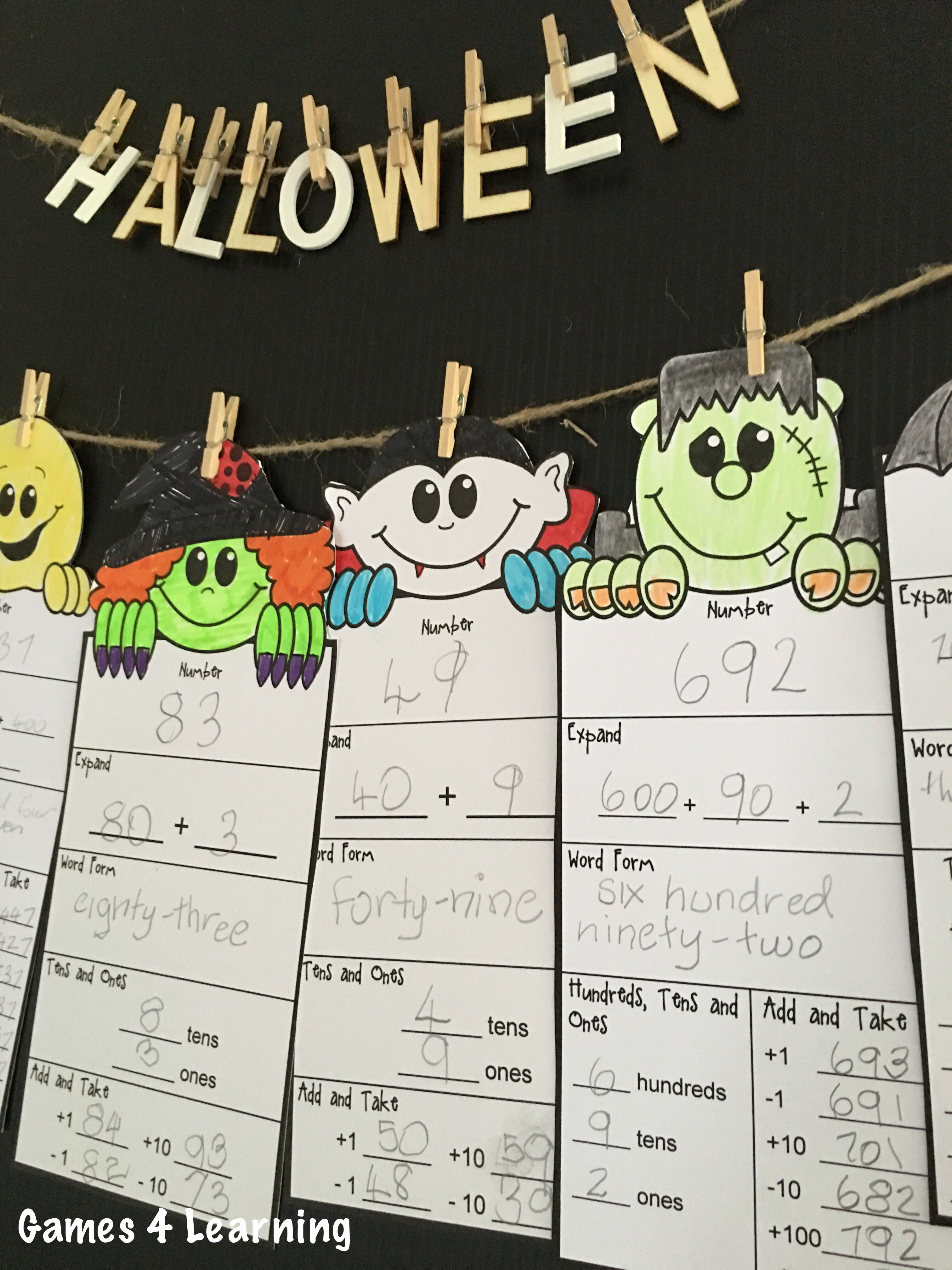 Halloween Math Activities Halloween Place Value And