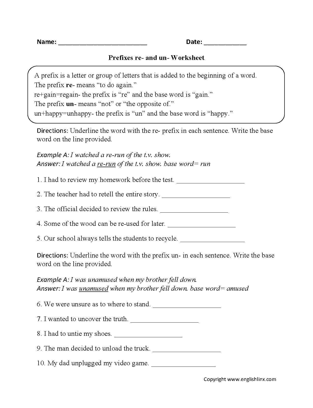 Prefixes Re And Un Worksheets