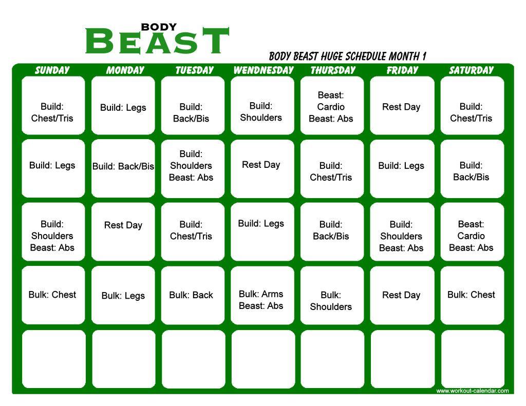Body Beast Huge Schedule Month 1