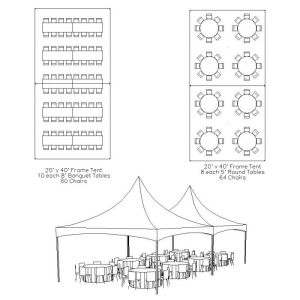 20 x 40 Frame Tent Table & Chair Layout | Bat Mitzvah