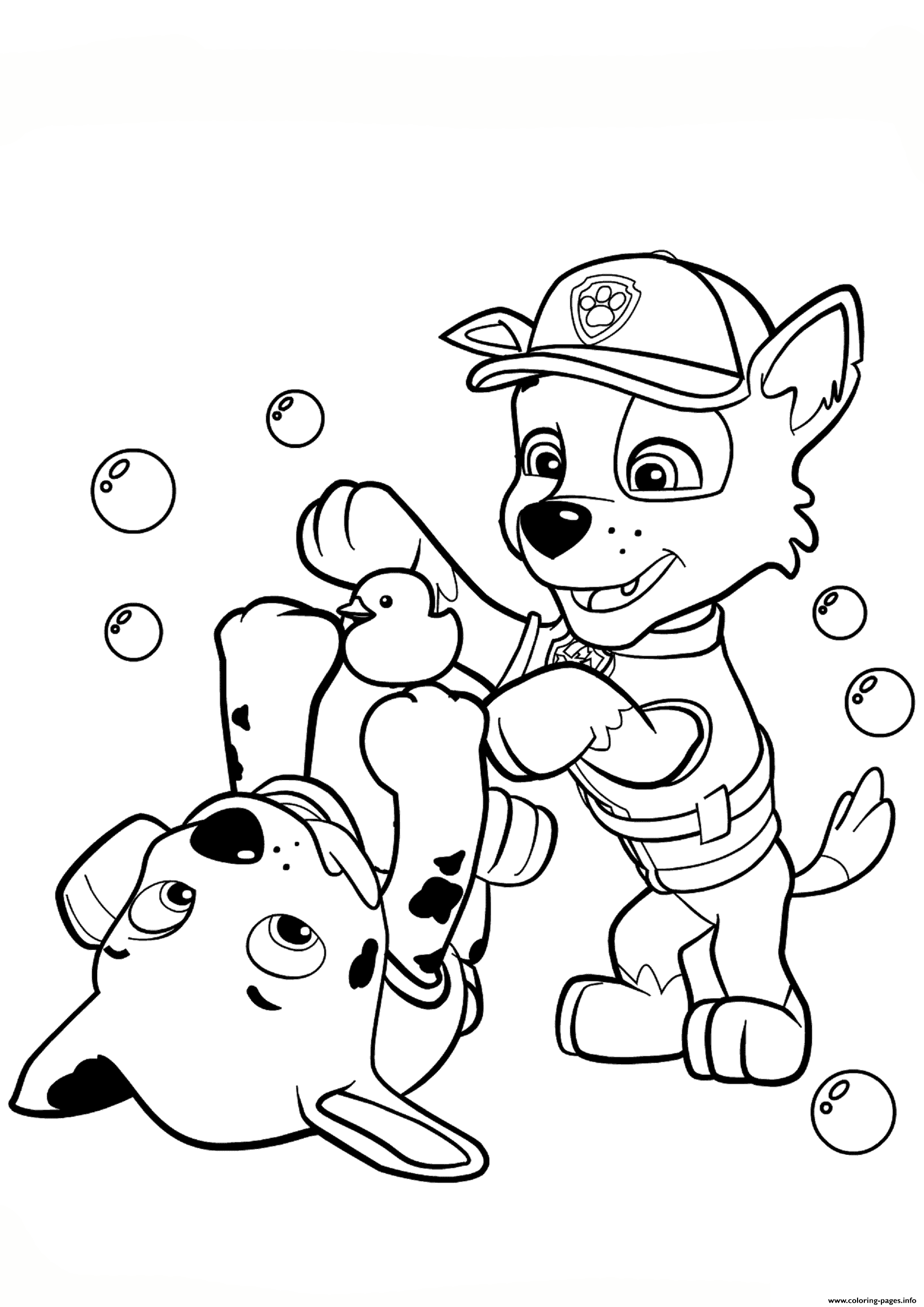 Print paw patrol rocky and marshall coloring pages