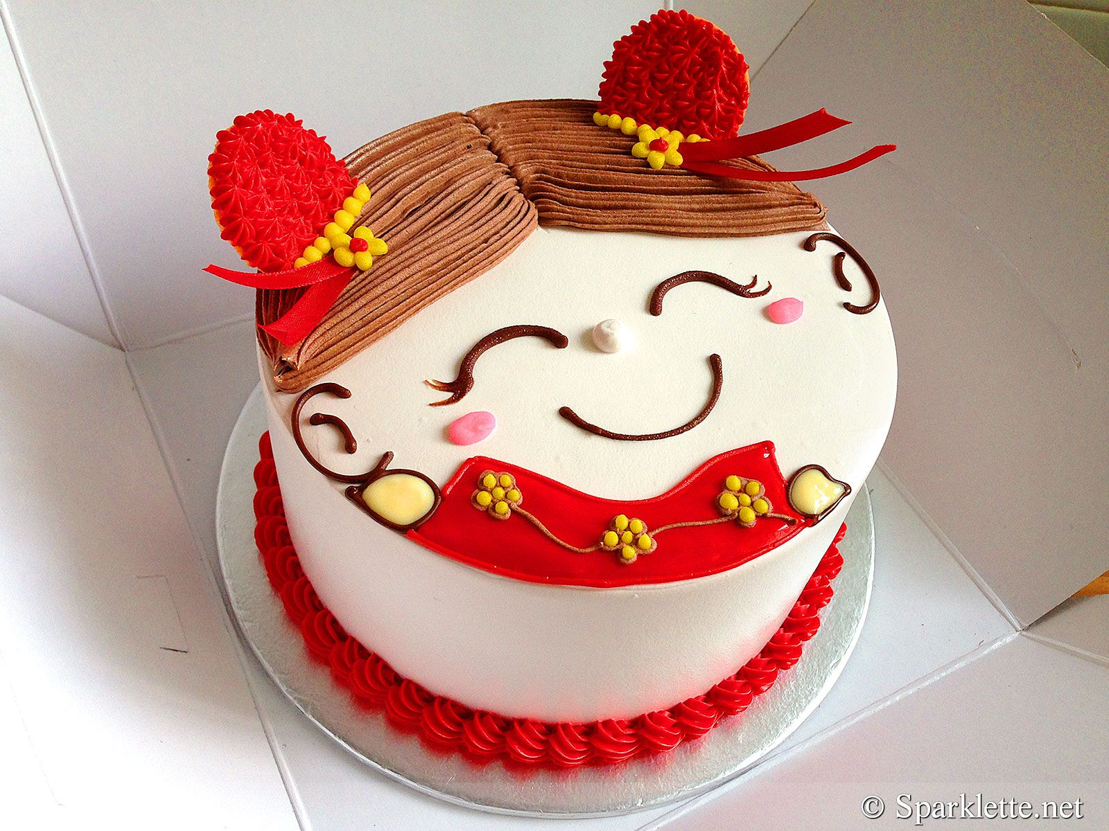 Chinese New Year Prosperity Couple Happy Face Cake From