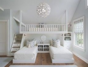 Guest Room Idea A Loft Bed Hung Over Two Twin Beds With Built