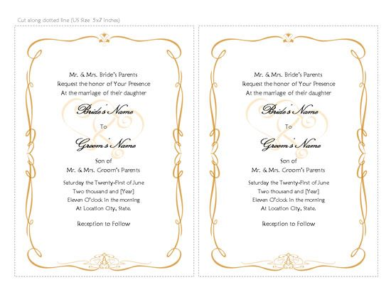 Wedding Invitation Templates Microsoft Word – Wedding Invitation Templates for Word