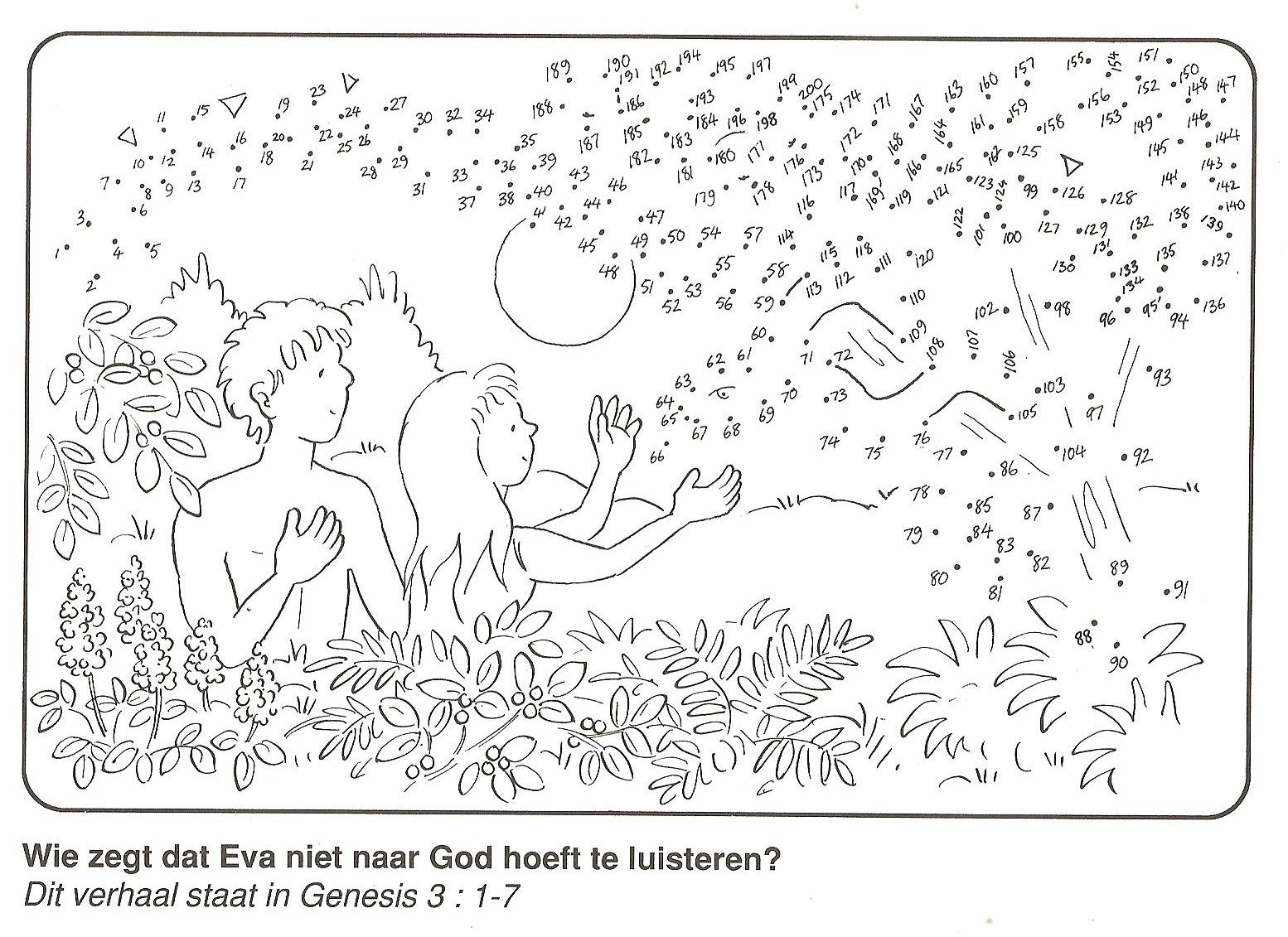 Adam And Eve In The Garden Of Eden Dot To Dot