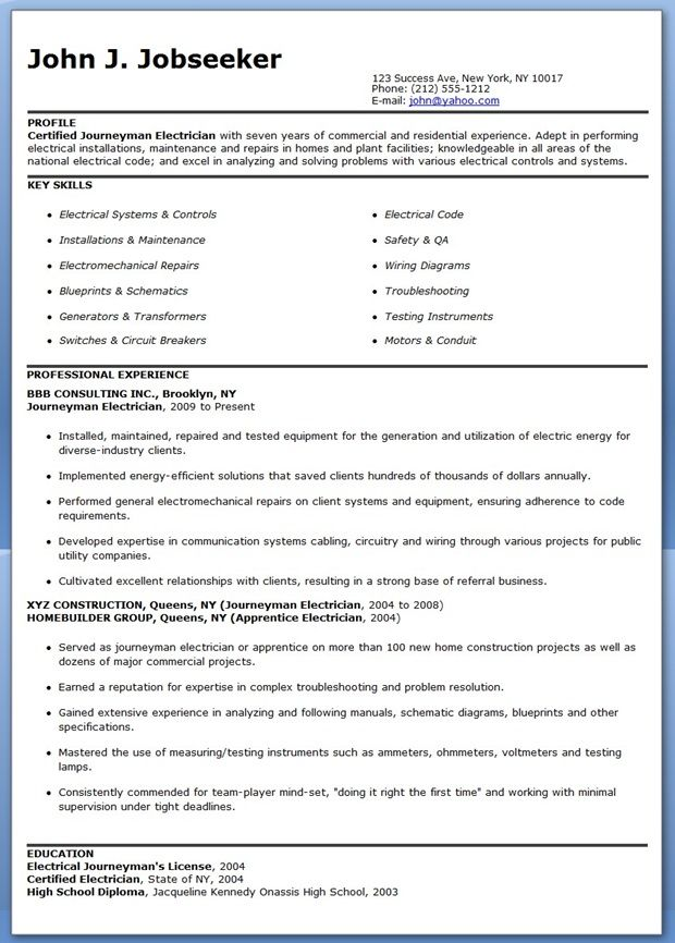 electrician resume sample snapwit co