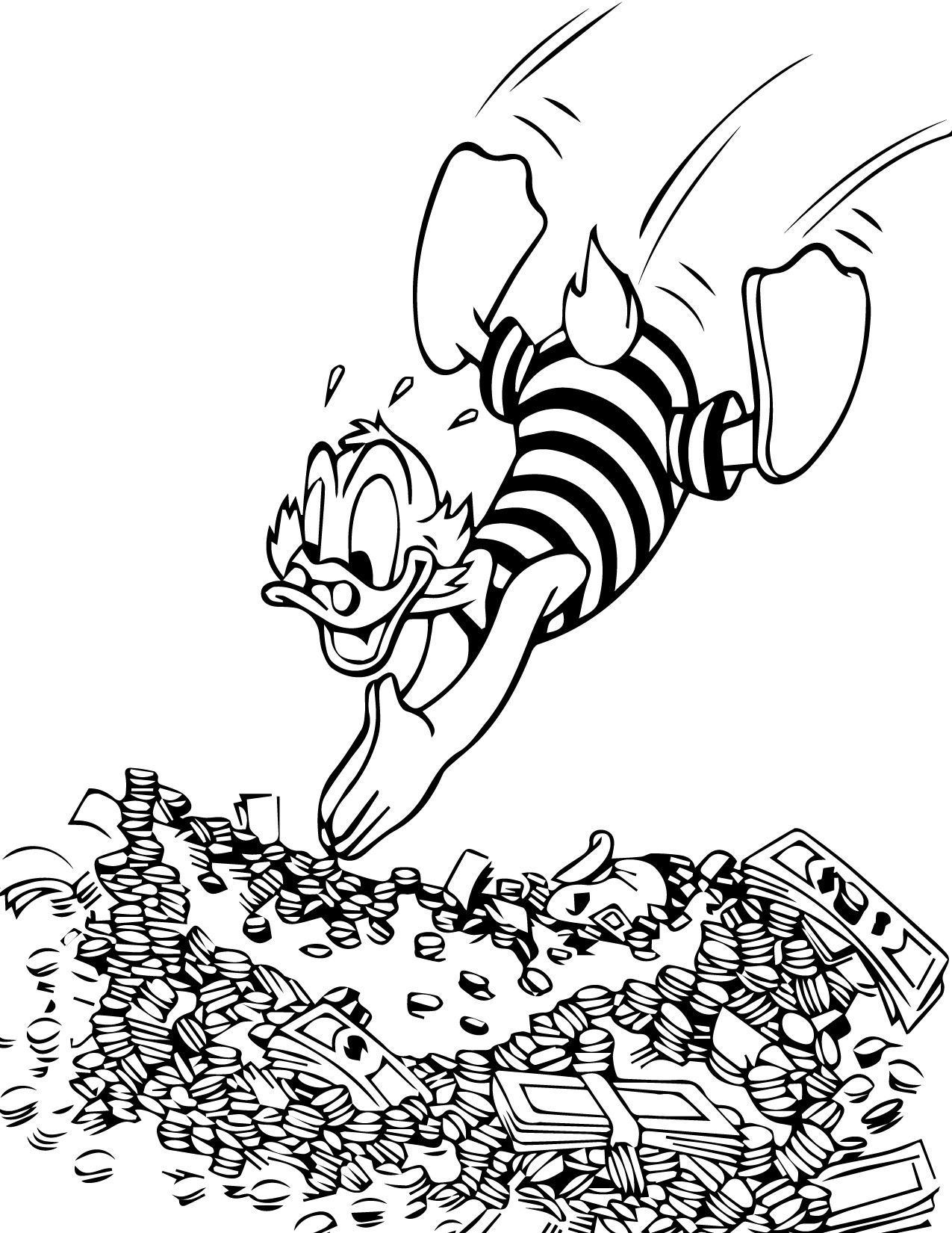 Cool Donald Duck Swimming Money Rich Coloring Page Check