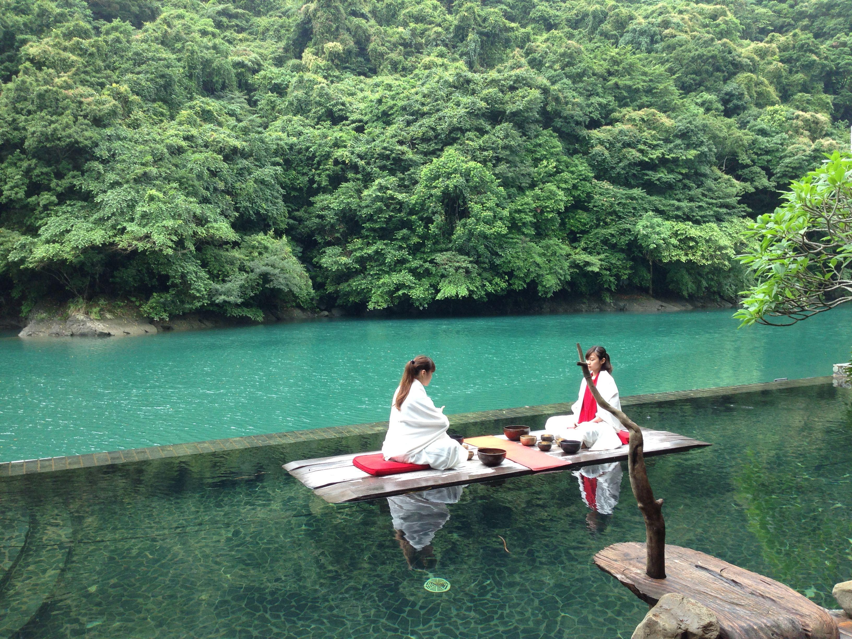 Floating island picnic! Volando Urai Spring & Spa Resort