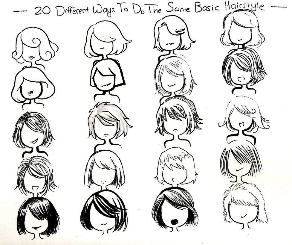 Twenty ways to draw the same basic hairstyle by