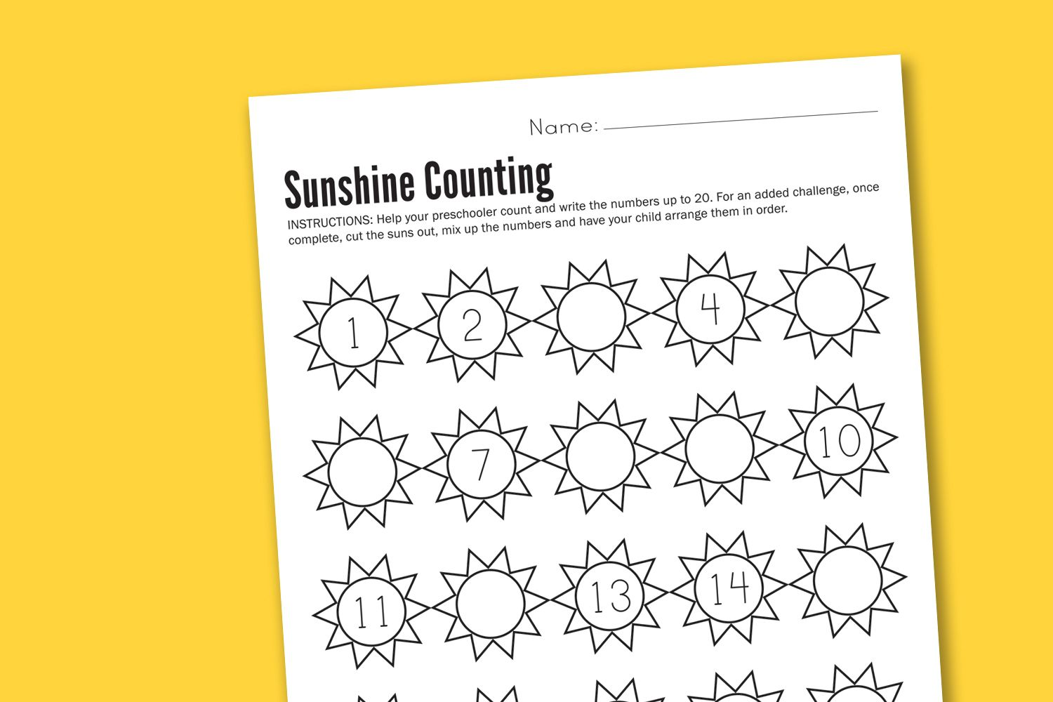 Sunshine Counting Preschool Worksheet Printable