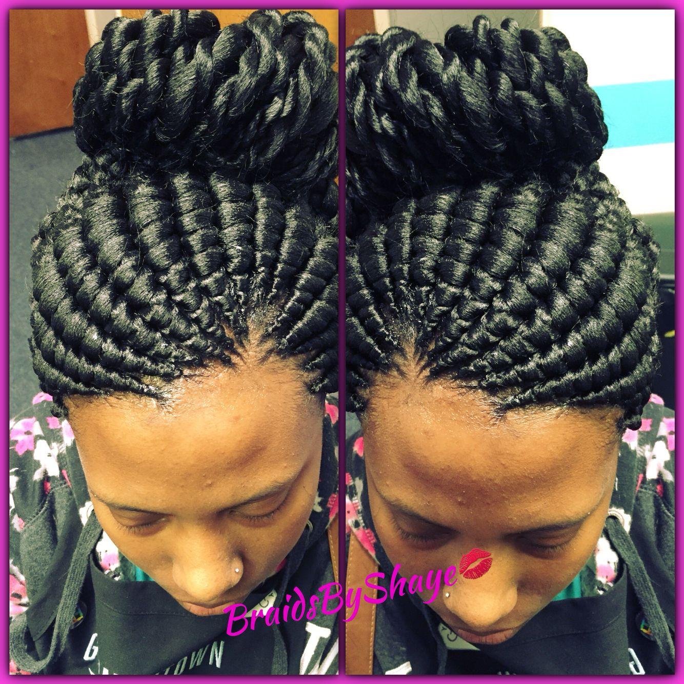 Ghana bun with twisted ends BraidsByShaye Pinterest
