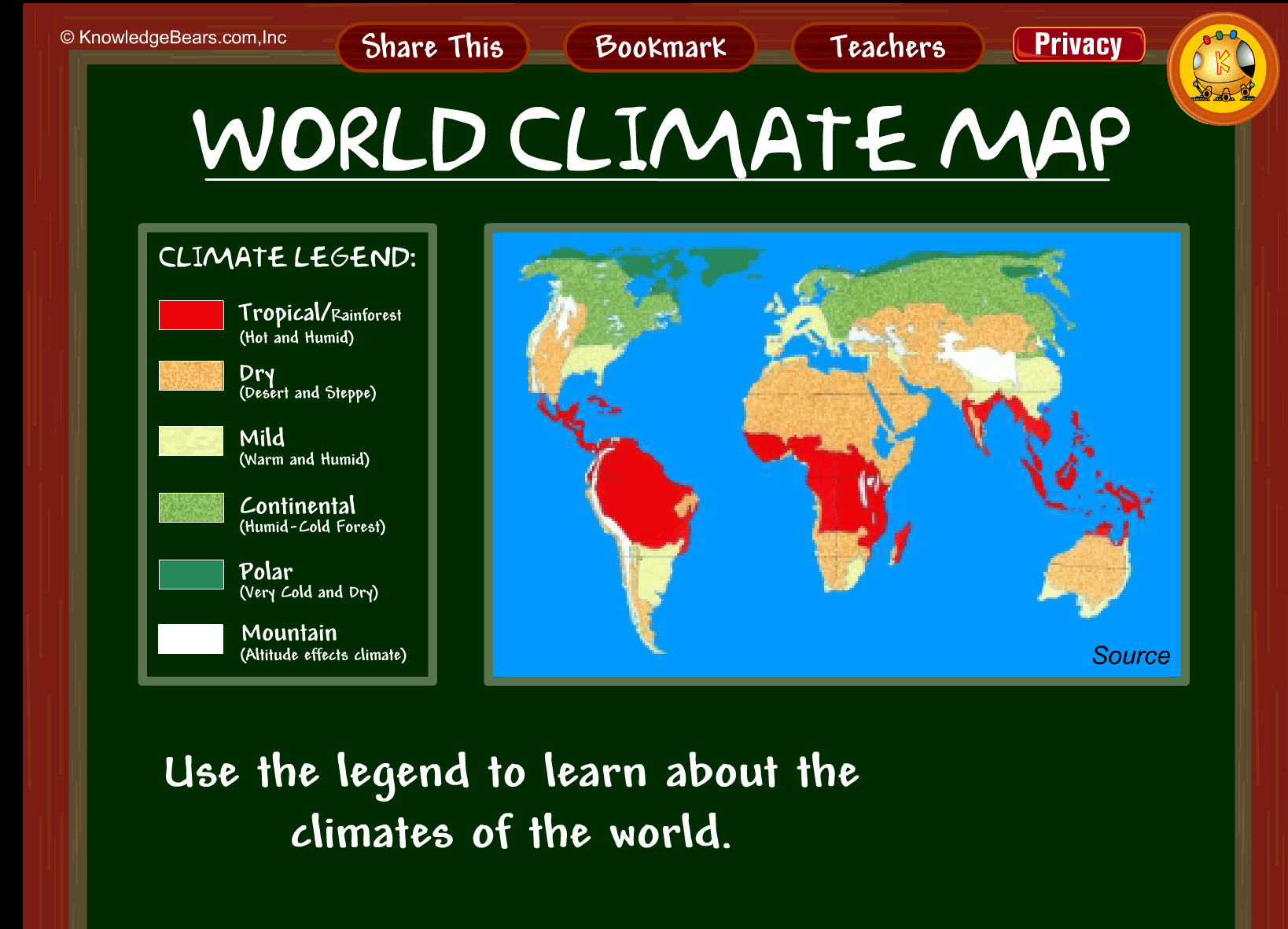 World Climate Map Kbears Climates