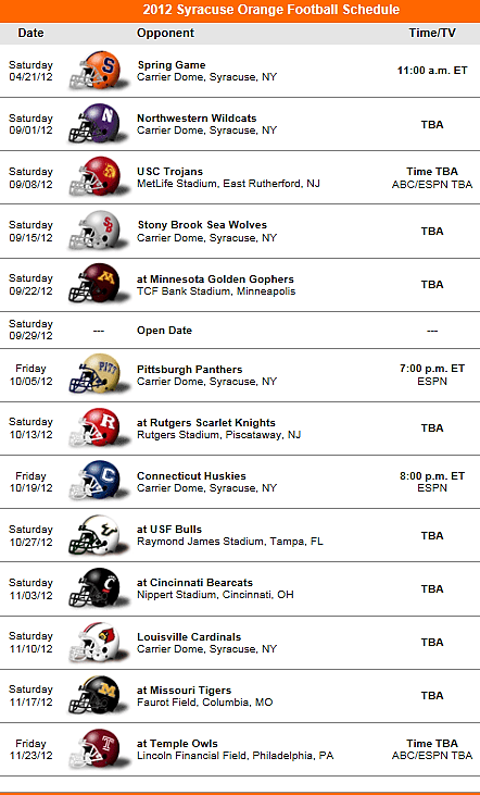 Syracuse Orange Football 2012 Schedule Syracuse