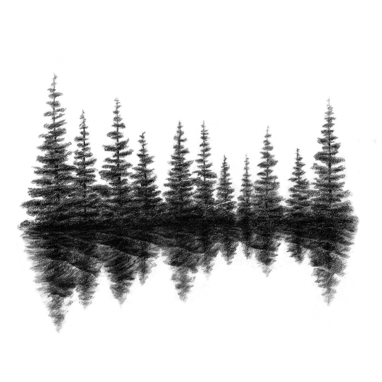 Evergreen Tree Line Silhouette Embroidery Pinterest