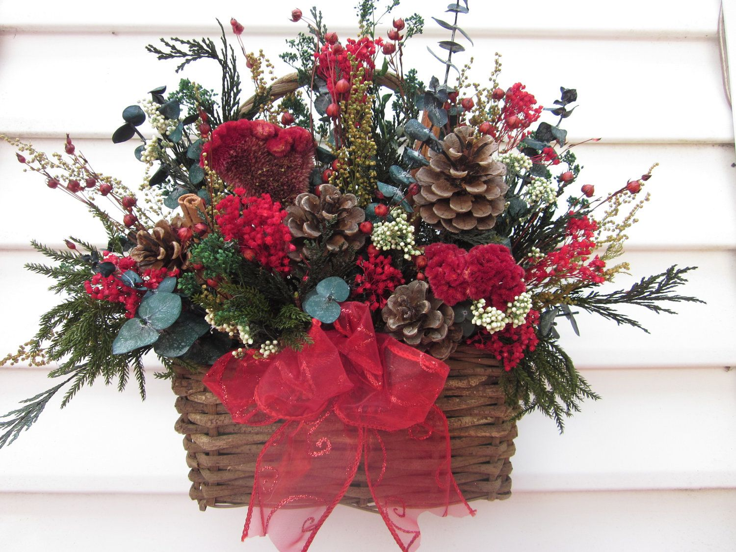 Rustic Dried Flower Arrangement in basket for the wall