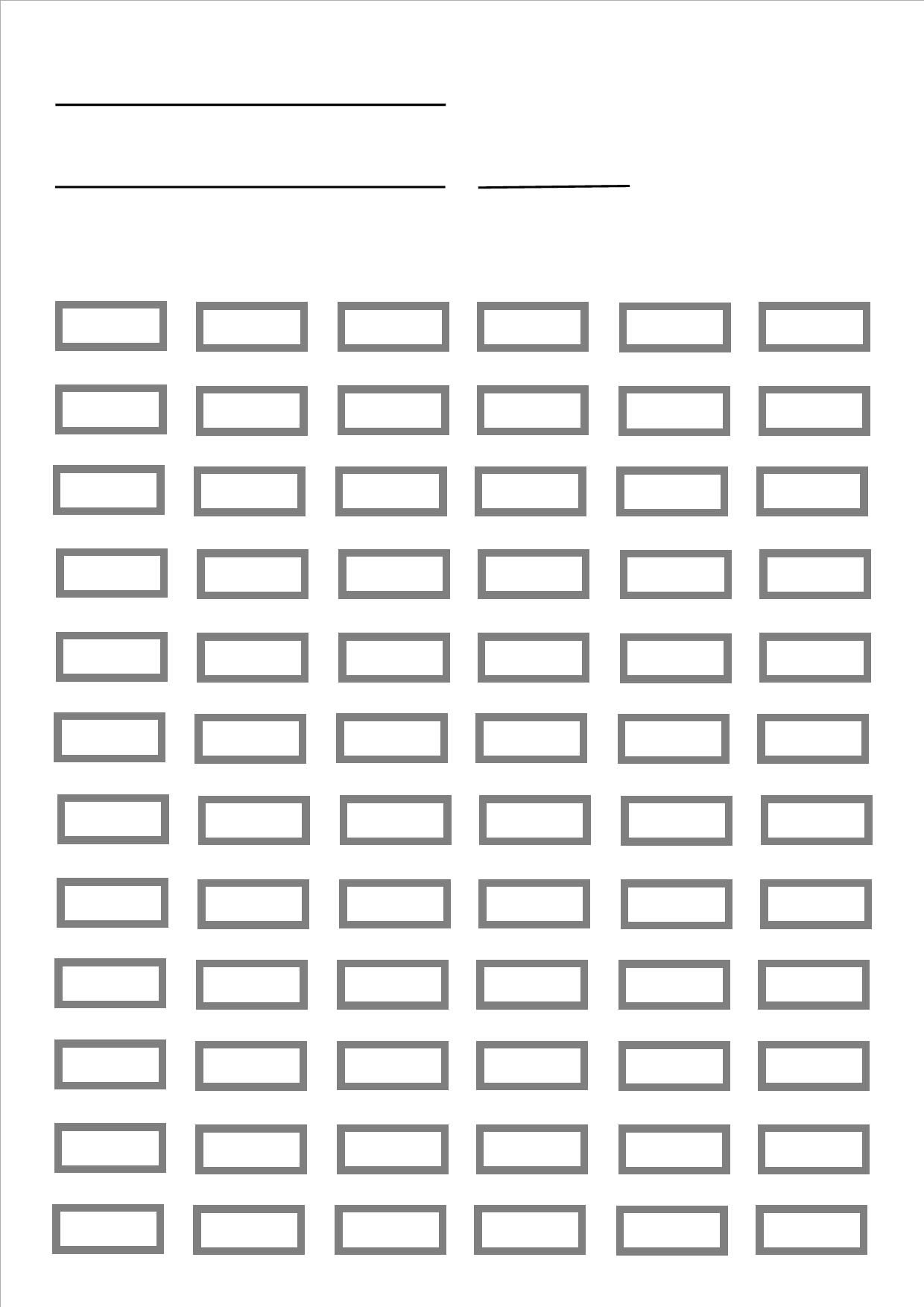 Blank Pencil Chart For Up To 72 Pencils Prints A4 Size
