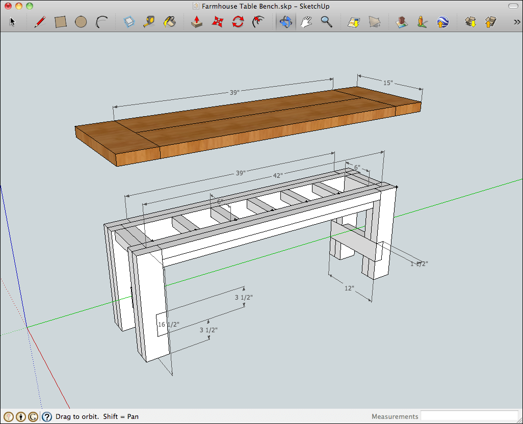 SketchUp model of the rustic farmhouse table bench with