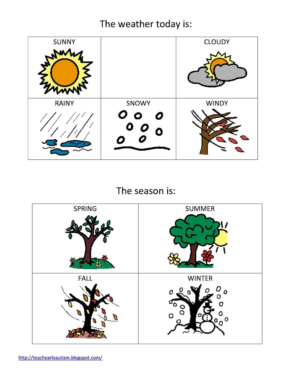 Teach Early Autism Weather And Seasons Printable