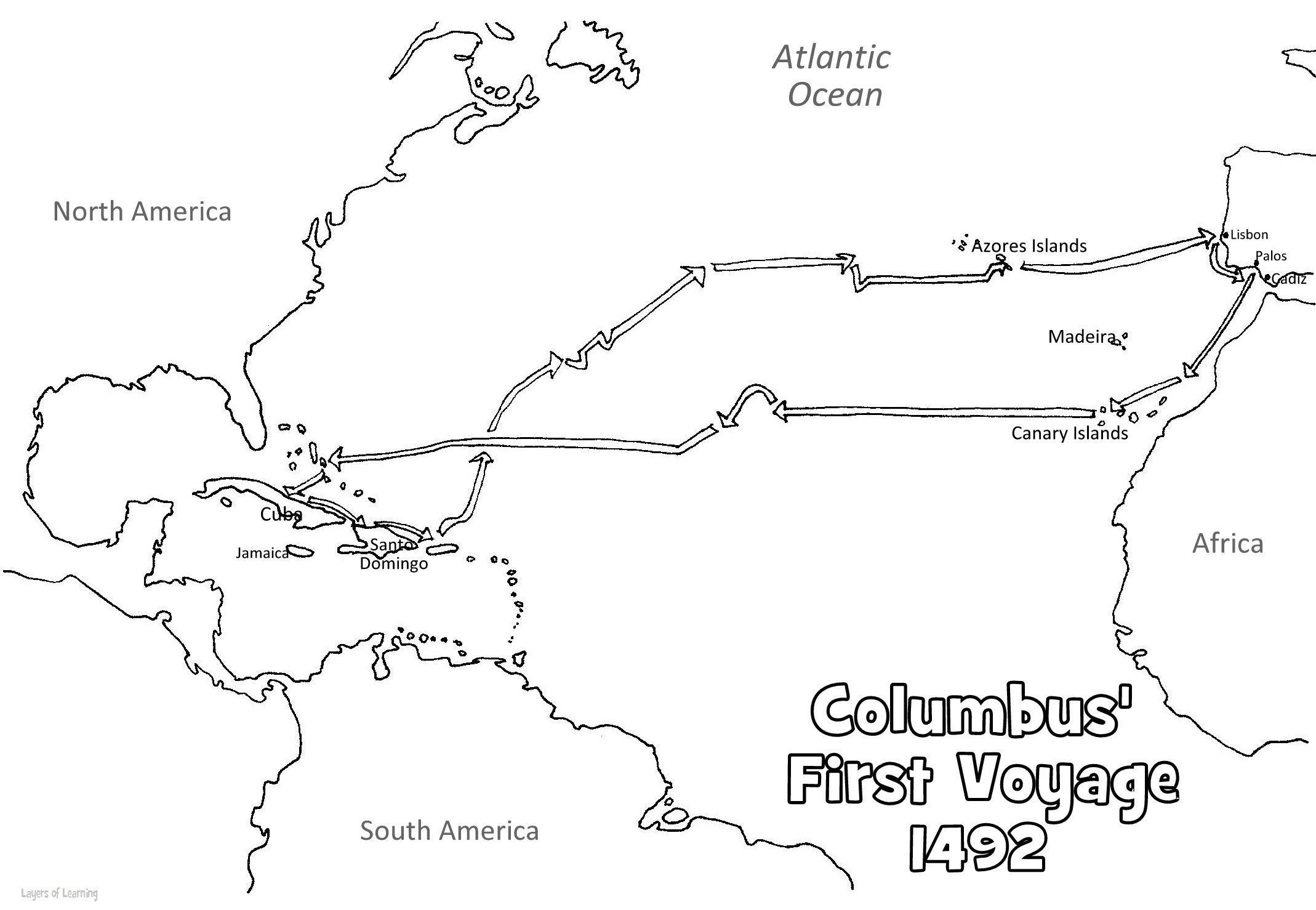 Christopher Columbus Coloring Page Map