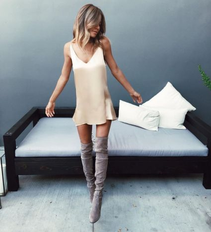 Over the knee boots is perfect ways to wear slip dresses!